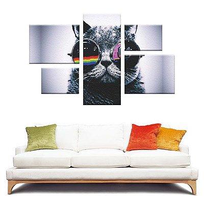 Quadro Gato Style Conjunto Assimétrico Tela Decorativa em Canvas