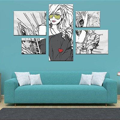 Quadro Conjunto Menina Style  Assimétrico Tela Decorativa em Canvas