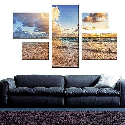 Quadro Conjunto Praia Assimétrico Tela Decorativa em Canvas