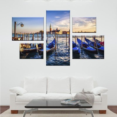 Quadro Conjunto Veneza  Assimétrico Tela Decorativa em Canvas