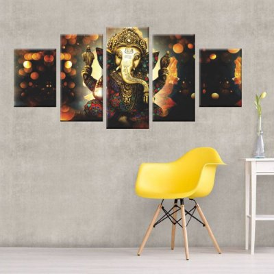 Quadro Lord Ganesha Conjunto 5 Tela Decorativa em Canvas
