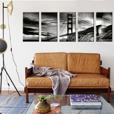 Conjunto 5 Telas Decorativas em Canvas Golden Gate EUA