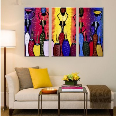 Quadro Africanas Mulheres Conjunto 3 Telas em Canvas