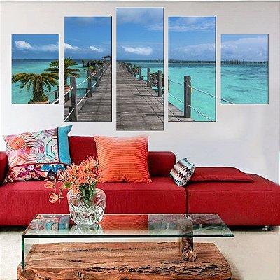 Quadro Natureza Praia Deck 5 Telas Decorativas