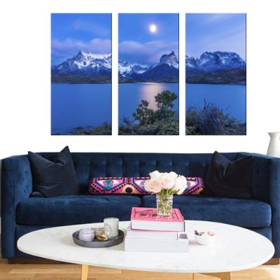 Quadro Natureza Montanha Land Scape  Conjunto 3 Telas Decorativas