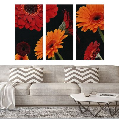 Quadro Natureza Flores Colorida Conjunto 3 Telas Decorativas