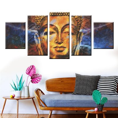 Conjunto de Telas Decorativas Buda 5 peças