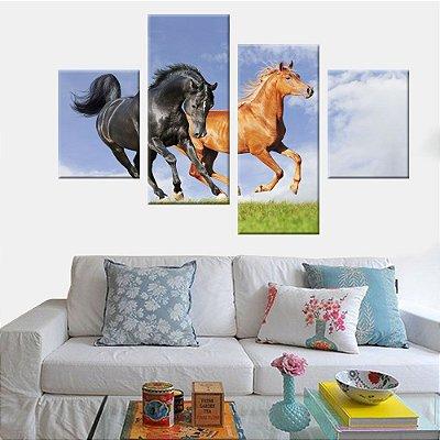 Quadro Cavalos Selvagens 4 Telas Decorativas