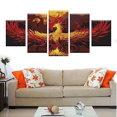 Quadro Phoenix Conjunto 5 Telas Decorativas