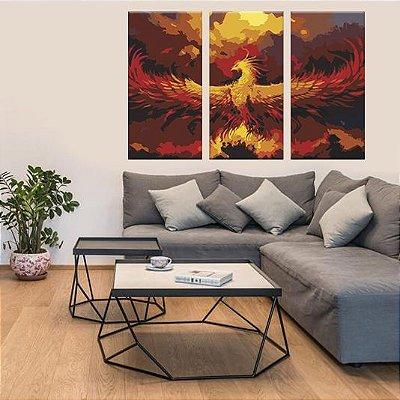 Quadro Phoenix Passaro de Fogo 3 Telas Decorativas