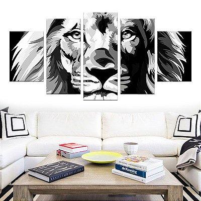 Quadro Leão Colorido em PB Conjunto 5 Telas Decorativas