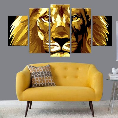 Quadro Leão Colorido Amarelo Conjunto 5 Telas Decorativas