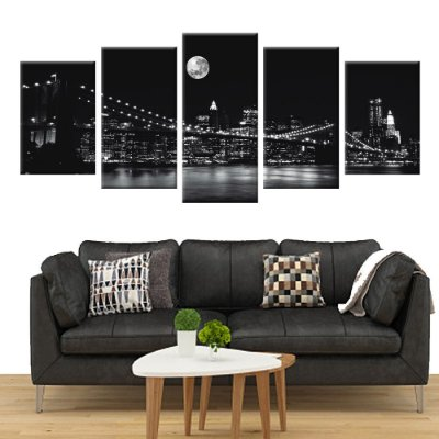 Quadro Ponte do Brooklyn Nova York PB Conjunto 5 Telas Decorativas