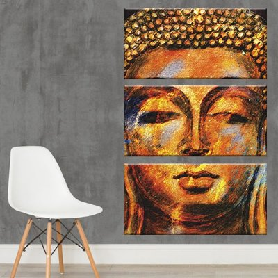 Quadro Buda Dourado Vertical 3 Telas Decorativas