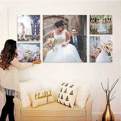 Quadro Personalizado com Sua Foto 5 Peças em Tecido Canvas