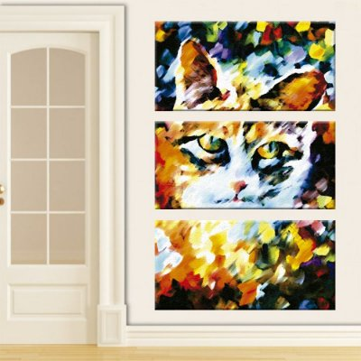 Quadro Gato Pintura Vertical 3 Telas Decorativas