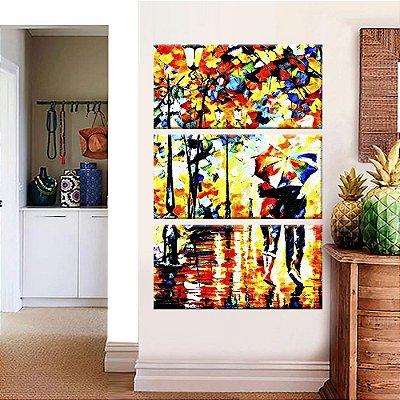 Quadro Pintura Casal Chuva Vertical 3 Telas Decorativas