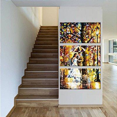 Quadro Casal Pintura Vertical 3 Telas Decorativas