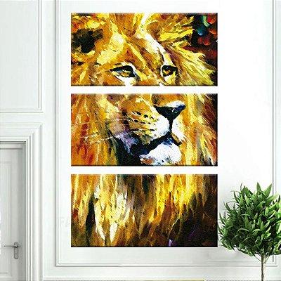 Quadro Leão Pintura Vertical 3 Telas Decorativas