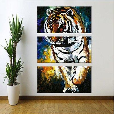 Quadro Tigre Pintura Vertical 3 Telas Decorativas