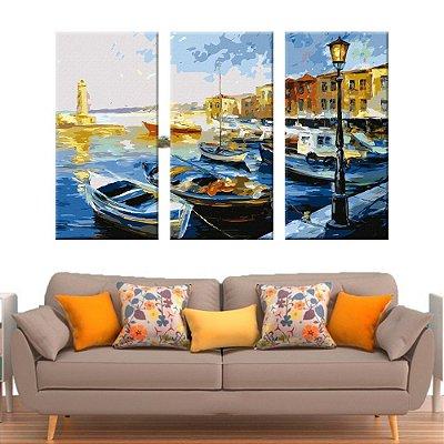 Quadro Barcos Pintura 3 Telas Decorativas