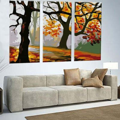 Quadro Floresta Florida Pintura 3 Telas Decorativas