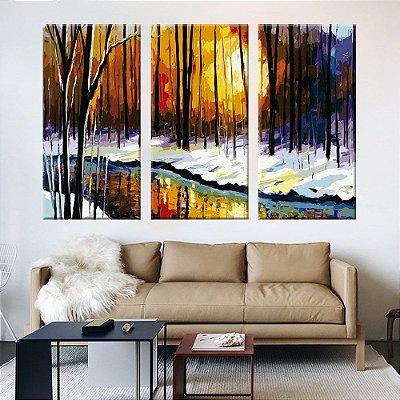 Quadro Pintura Inverno 3 Telas Decorativas