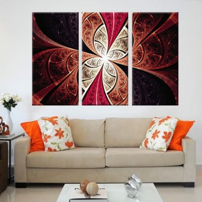 Conjunto 3 Tela Decorativa Vitral Vermelho