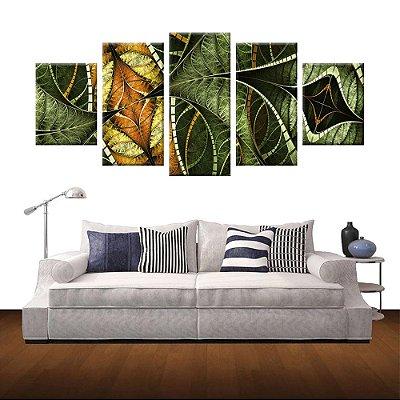 Conjunto 5 Quadros Tela Decorativa Vitral Verde