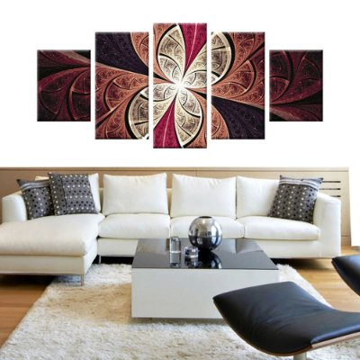 Conjunto 5 Quadros Tela Decorativa Vitral Vermelho