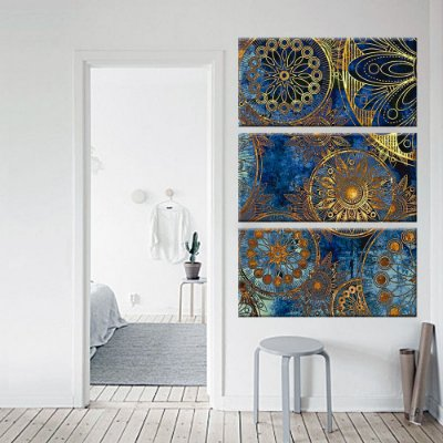 Quadro Vitral Mandalas Vertical 3 Telas Decorativas