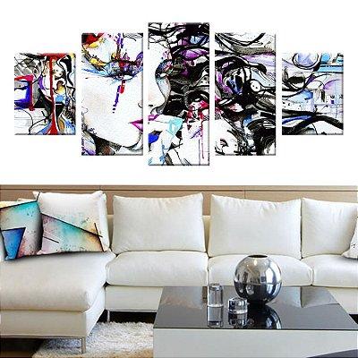 Conjunto 5 Quadros Tela Decorativa Menina Color