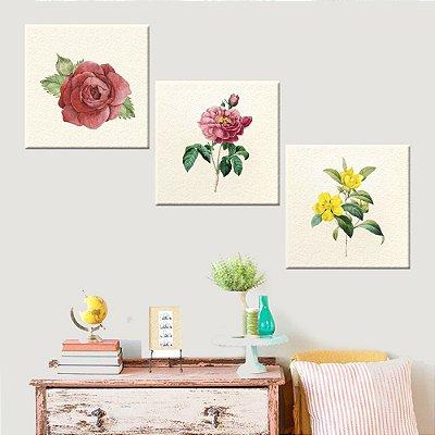 Conjunto com 3 Telas Decorativas Flores