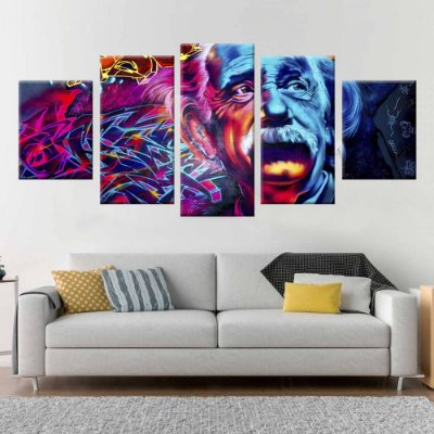 Conjunto 5 Quadros Tela Decorativa Einstein Graffiti