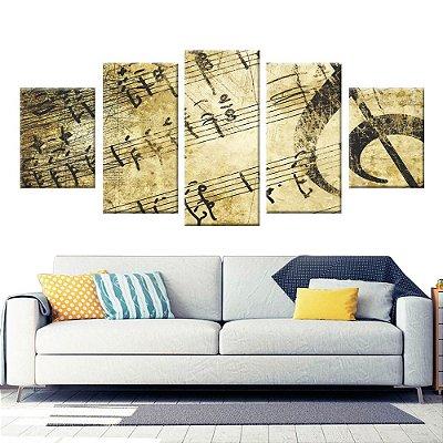 Conjunto 5 Quadros Tela Decorativa Musica