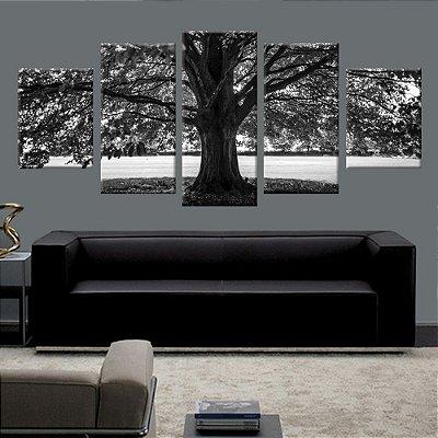 Conjunto 5 Quadros Tela Decorativa Arvore