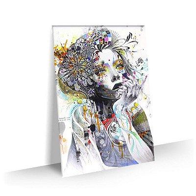 Quadro Face Mulher Abstrato Tela Decorativa