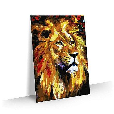 Quadro Tela Decorativa Leão Amarelo