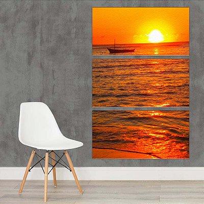 Quadro Praia Por do Sol 3 Telas de Pintura