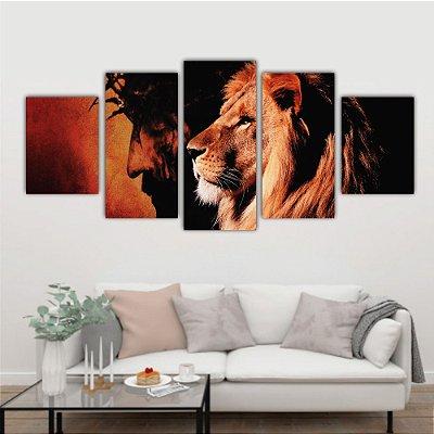 Quadro Leão & Cristo 5 telas decorativas