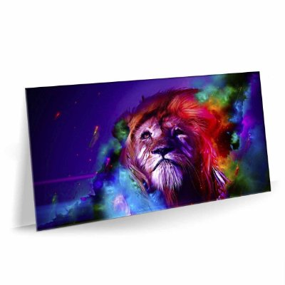 Quadro Leão Color Tela Decorativa