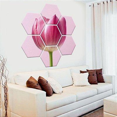 Quadro Tulipa Rosa Conjunto 9 Tela Decorativa Hexagonal