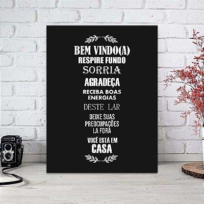 Placa Decorativa Bem Vindo Black (AL) 30X40CM