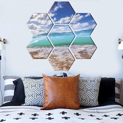 Quadro Praia Conjunto 7 Telas Decorativas Hexagonal