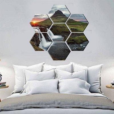 Quadro Montanhas Sol  Conjunto 7 Telas Decorativas Hexagonal