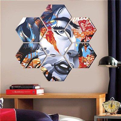 Quadro Ilustração Mulher Conjunto 7 Telas Decorativas Hexagonal