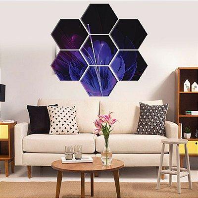 Quadro Flor Luzes Conjunto 7 Telas Decorativas Hexagonal