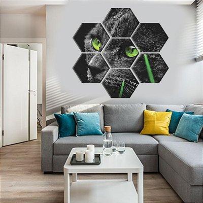 Quadro Gato Felino Conjunto 7 Telas Decorativas Hexagonal