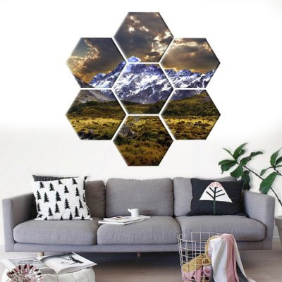 Quadro Montanhas Conjunto 7 Telas Decorativas Hexagonal