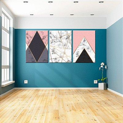 Trio de Telas Decorativa Marble Geometrico